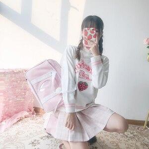 Image 2 - 冬かわいい女性タートルネックセーター原宿かわいいイチゴミルクピンクファムプルジャンパーハイネックホワイトニットセーター