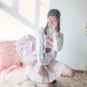 Image 2 - Winter Cute Women Turtleneck Sweater Harajuku Kawaii Strawberry Milk Pink Femme Pull Jumper High Neck White Knitted Sweaters
