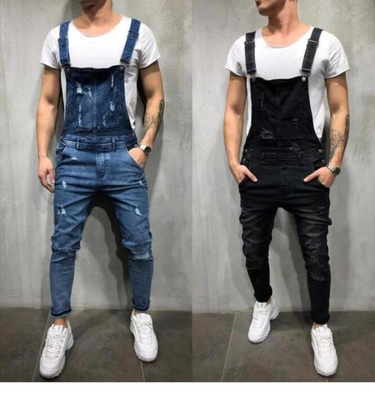 Men's Ripped Jeans Jumpsuits Work Coveralls Denim Bib Overalls For Male Retro Jeans Summer Sleeveless Protection Repairman (2)