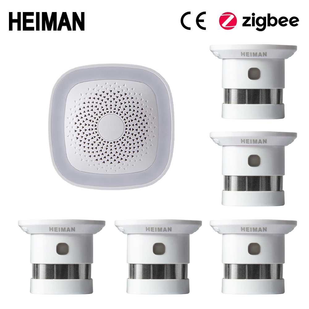 HEIMAN HA1.2 Zigbee Fire Alarm Wireless Security Home System Smart Wifi Gateway And Smoke Detector Sensor Host DIY Kit