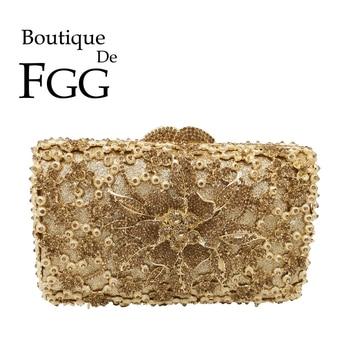 Boutique De FGG Golden Flower Women Evening Minaudiere Bags Bridal Crystal Clutch Wedding Party Metal Purses and Handbags