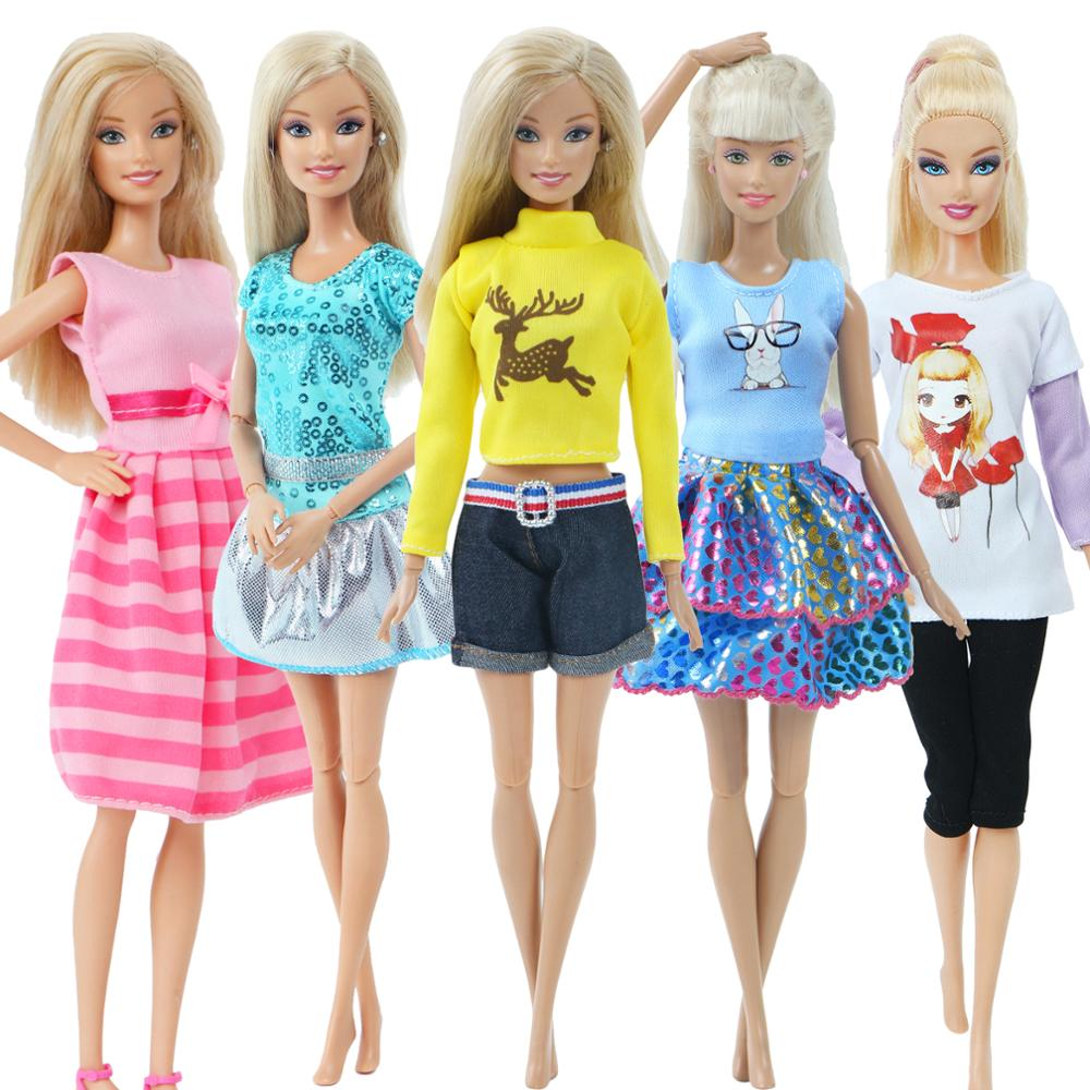 Handmade Fashion Doll Dress For Barbie Doll Clothes Cartton Pattern Outfits T-shirt Blouse Pants 12'' Doll Accessories Kids Toy