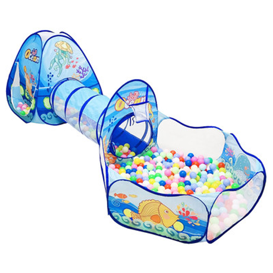 Portable Kids Playpen 3 In 1 Ocean Print <font><b>Baby</b></font> Playground Tent <font><b>Ball</b></font> <font><b>Pool</b></font> Children PlayHouse <font><b>Balls</b></font> for the Dry <font><b>Pool</b></font> <font><b>Baby</b></font> Fence image