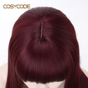 Image 5 - Cosycode 99j peruca cosplay com franja 22 polegada longa peruca reta para mulher não laço peruca sintética traje resistente ao calor
