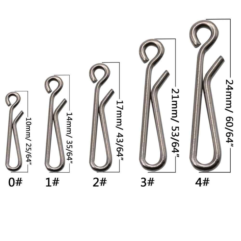 50-100 ชิ้น/กล่องตะขอสแตนเลส Fast คลิป Snap Swivel Solid แหวน 0 #-4 # ความปลอดภัย snaps Hook Hook Hook Hook