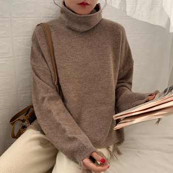 Ailegogo New Autumn Winter Women Sweater Casual Female Tassel Loose Fit Knitted Pullovers Turtleneck Short Ladies Knitwear Tops 5