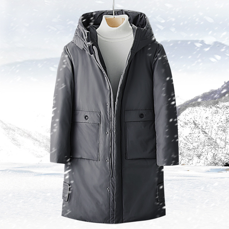 2019 Winter Mid-length Thick Warm Men's New Style Down Jacket Men's Men Korean-style Casual White Duck Down Coat