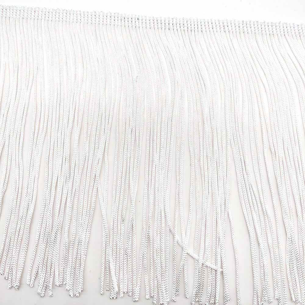 10 yards White 15cm Width Fringe Lace Tassel Polyester Lace Trim Ribbon Sew Latin Dress Stage Garment Curtain DIY Accessories(China)