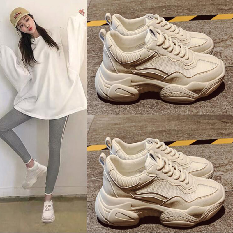 Dropshipping Comfy Breathable Mesh Trainers Chunky Heel Women's Platform Sneakers Women Shoes Casual Female Shoes GZXX032