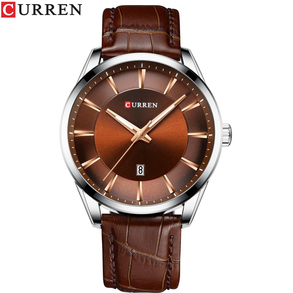 CURREN Quartz Watches for Men Leather Strap Male Wristwatches Top Luxury Brand Business Men's Clock  45 mm Reloj Hombres