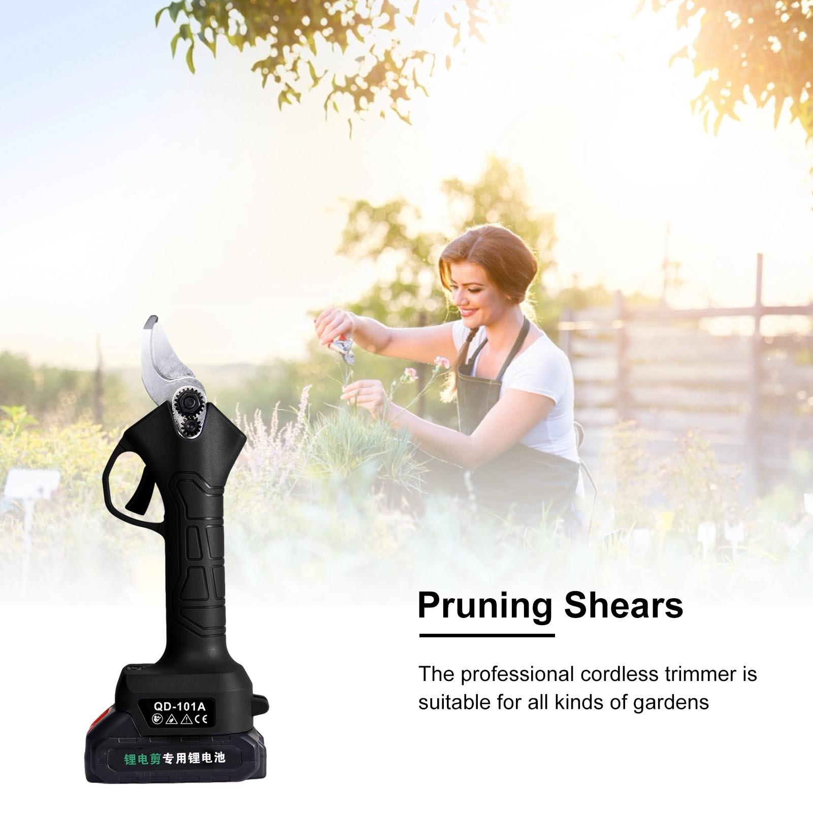 Tools : Electric Pruning Shear Cordless Secateurs 2PCS Lithium Battery Pruner Fruit Tree Branch Trimmer Cutter Scissor Garden Power Tool
