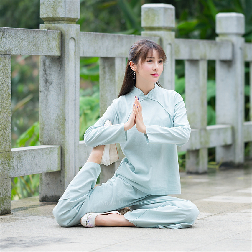 Ancient Chinese Costume Folk Kungfu Taichi Practice Zen Meditation Traditional Clothing Solid Cotton Tang Suit Set For Women