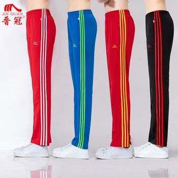 Wiosenne i jesienne spodnie sportowe kolor trzy paski spodnie damskie męskie w stylu celebrytek czerwone i czarne grupy ćwiczeń Fitness G tanie i dobre opinie Jin Crown Stripes C28 Colorful Pants