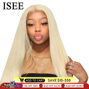 Image 1 - Brazilian Straight 613 Lace Front Wig 150% Density 13x4 ISEE HAIR Straight Honey Blonde Lace Front Human Hair Wigs For Women