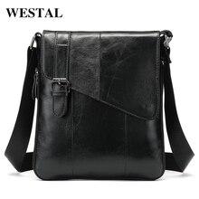 Westal Business Shoulder Messenger Bag For Men Genuine Leather Vintage Briefcase Office