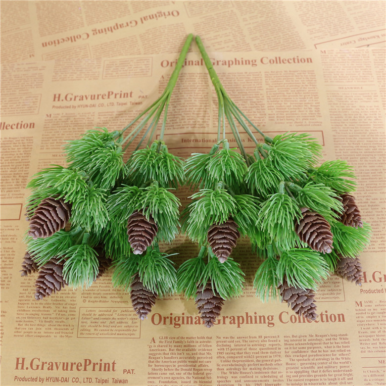 NICROLANDEE  Pine Tree Bunch With Nuts Artificial Flowers for Christmas Home Decoration  Pinecone Faux Greens Ornament