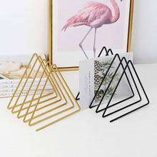 Bookends Golden Triangle Iron Art Book Stand Office Desk Shelf Magazine Book Collection And Arrangement Shelf Book Storage