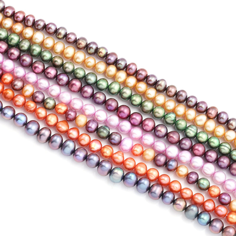 Natural Freshwater Pearl Beads Round Mixed Color Punch Loose Beads for Elegant Necklace Bracelet Jewelry Making Size 5-6mm