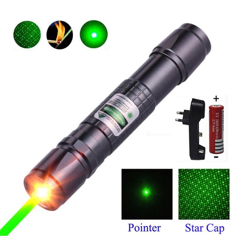 Avcılık Yüksek Güç Yeşil lazer işaretçi Ayarlanabilir Odak Yanan Lazer 303 532nm Sürekli Çizgi 500 ila 1000 metre Lazer menzil