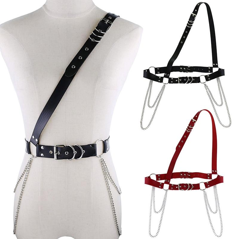 Sexy Women Leather Shoulder Harness Lingerie Strap Female Trendy Body Bondage Waistband Punk Chain Belt For Women