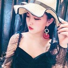 Red big circle water drill Earrings female European and American personality  earrings Korean temperament Long Fashion
