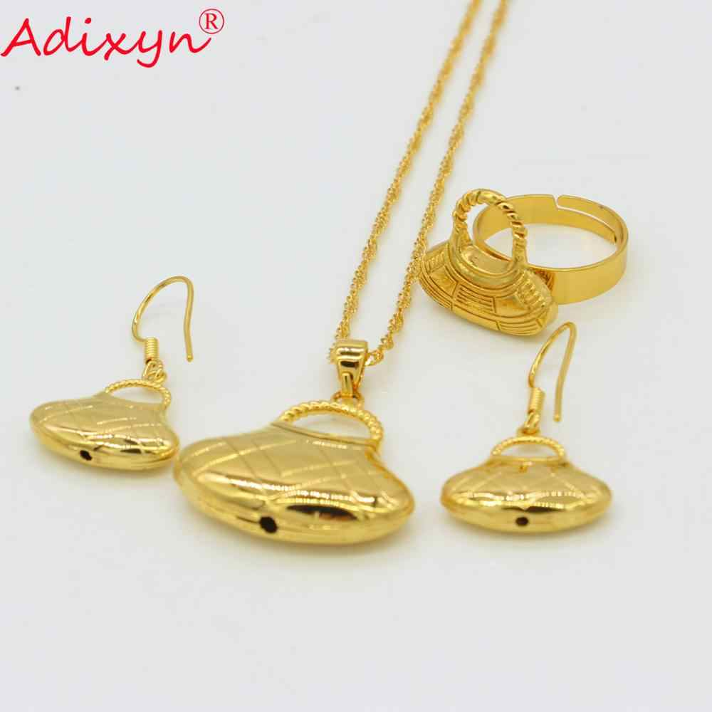 Adixyn Tasche Form PNG Halsketten Anhänger Ohrringe Ring set Papua-neuguinea Gold Farbe Schmuck sets N09054