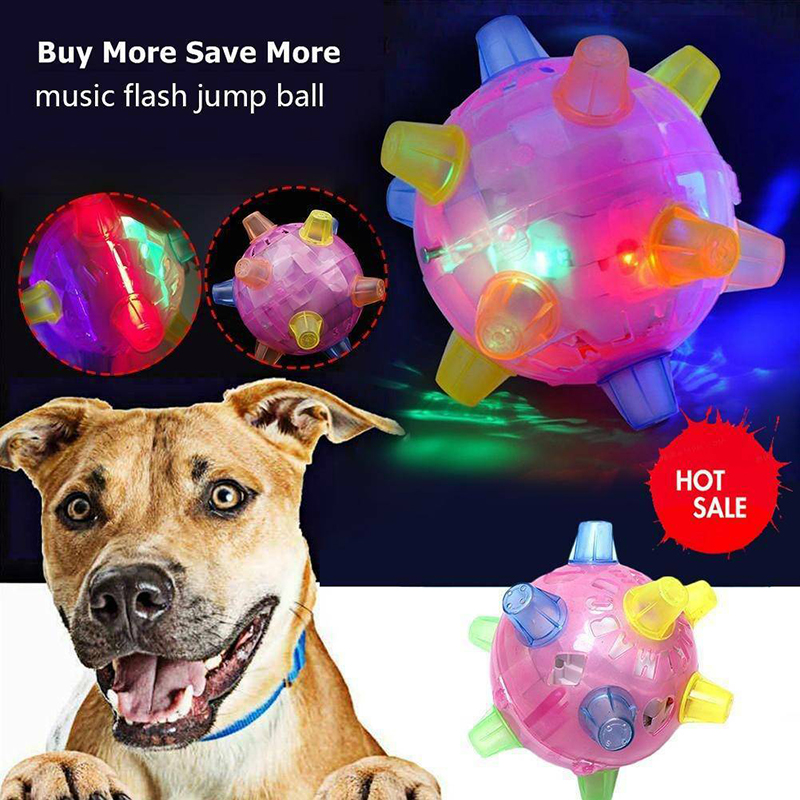 Pet Dog Toys LED Jumping Ball Play Ball Music Flashing Bouncing Dancing Balls Toy For Dogs Cats Jump Vibrating Activation Safe