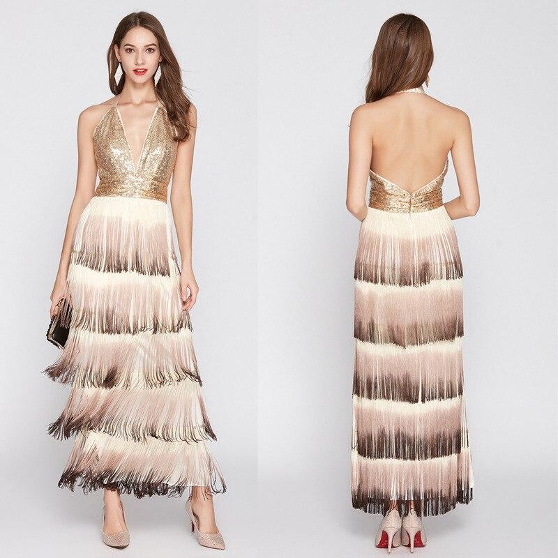 Sequined Long Evening Gown Deep V Sequined Backless Gradient Tassel Sexy Evening Dress Formal Dress Women Elegant Vestido