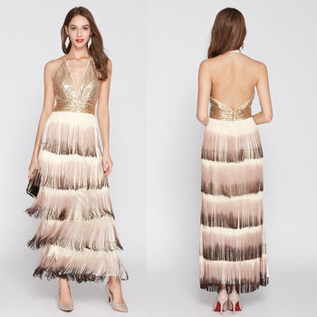 Sequined Long Evening Gown Deep V Sequined Backless Gradient Tassel Sexy Evening Dress Formal Dress Women Elegant Vestido фото