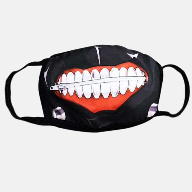 1PC Cotton Dustproof Mouth Face Mask Anime Zipper Cartoon Kpop Fashion Tokyo Ghoul Women Men Muffle Face Mouth Masks Cover 3
