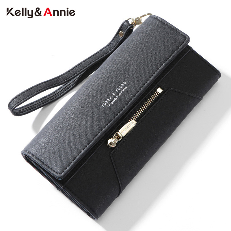 Wristlet Clutch Wallet Women Many Departments Female Wallet Forever Young Ladies Purse Leather Card Holder Phone Pocket Carteira