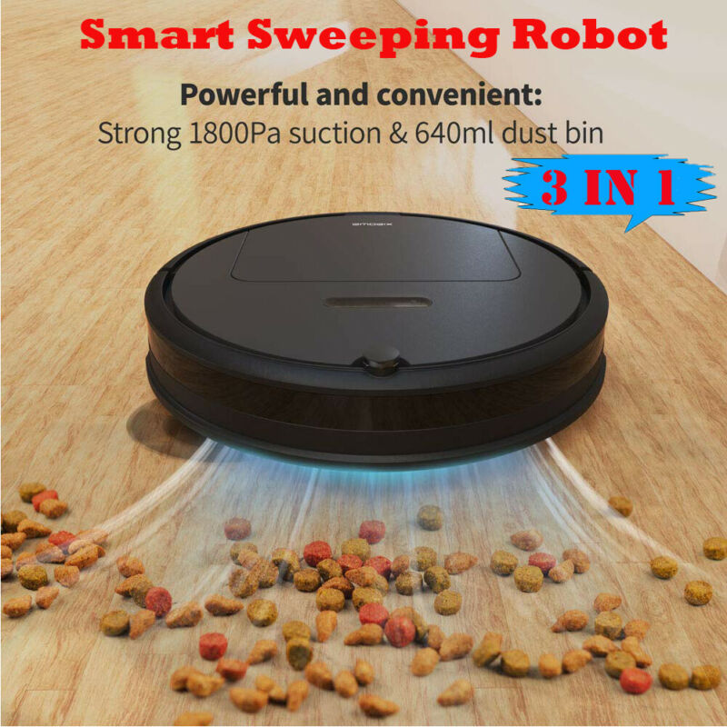 3 IN1 Robotic Vacuum Cleaner Mopping Sweeping One-button Start Robot 1800Pa New