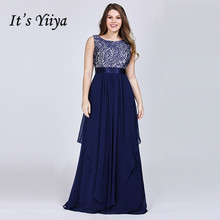Its Yiiya Evening Dress Elegant O-neck Formal Gowns Sleeveless Lace Robe de Soiree Plus Size Chiffon Women Party Dresses C437