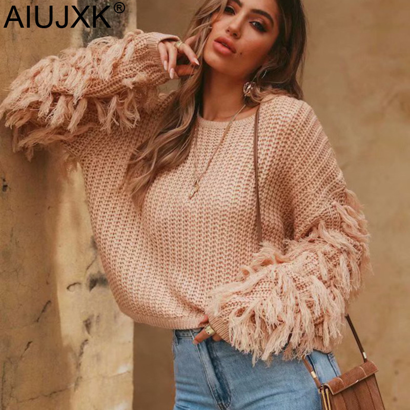 AIUJXK Autumn 2019 Women Pullover Sweater Fashion Tassel Long Sleeve Jumper For Female Short Casual Knitted Sweaters Winter Tops