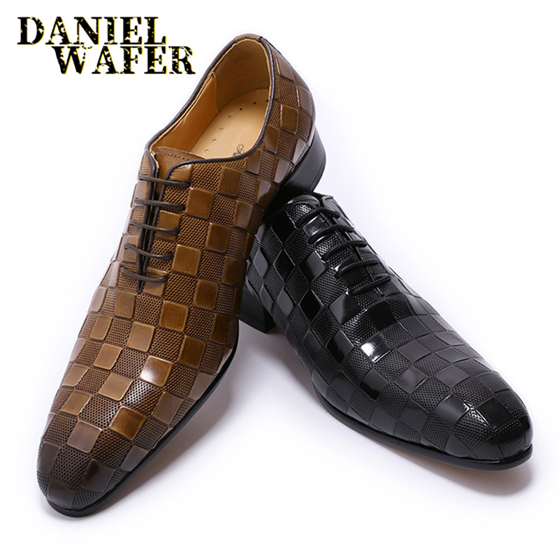 LUXURY ITALIAN LEATHER SHOES MEN NEW FASHION PLAID PRINTS LACE UP BLACK BROWN WEDDING OFFICE SHOES FORMAL OXFORD SHOES FOR MEN