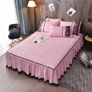 Image 5 - European Luxury Bedspreads and 2PCS Pillowcase Thick Cotton Bed Skirt with Lace Edge Twin Queen King Size Bedding Set Non slip