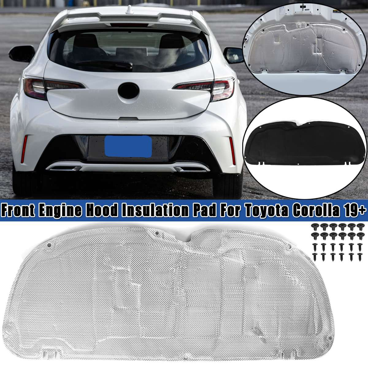 Car Sound Mat Proofing Deadener Heat Noise Insulation Deadening Mat Hood Engine Fits For Toyota Corolla 2019 2020+ Car Styling