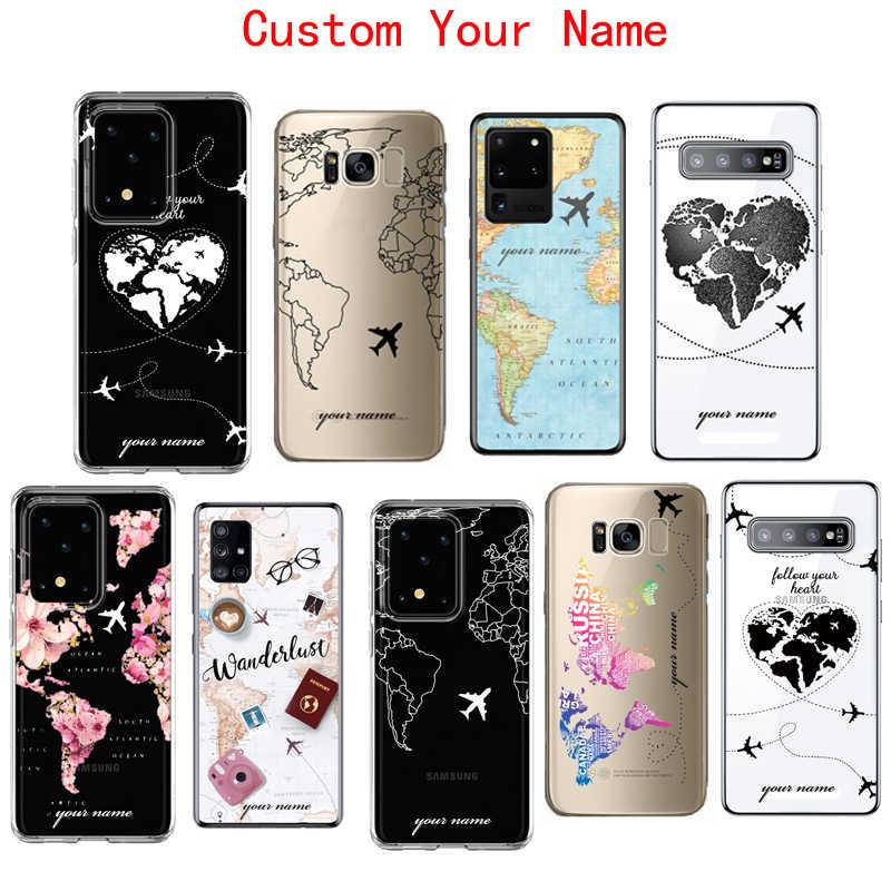 Personalizado nome do texto mapa do mundo personalizado, capa de telefone macia para samsung galaxy note 9 10 s20 ultra s10 s9 plus a50 a71 a51 a40 a70