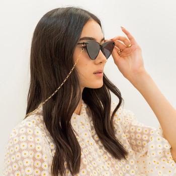 Łańcuszek do okularów uchwyt dla kobiet metalowy mały owalny łańcuszek do okularów smycz okulary przeciwsłoneczne sznury dorywczo akcesoria do okularów tanie i dobre opinie WOMEN Łańcuchy i smycze Okulary akcesoria 70CM Ze stopu cynku