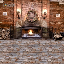 Laeacco Christmas Garland Brick Wall Fireplace Wood Photography Backgrounds Customized Photographic Backdrops For Photo Studio
