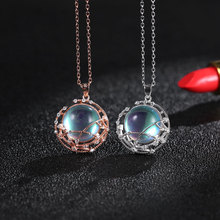 925 Sterling Silver Necklaces for Women Elegant Moonstone Pendant Necklace Temperament Clavicle Chains Festival Jewelry elegant silver 925 jewelry classic temperament cream necklace 8mm pearl 925 sterling silver chain for women