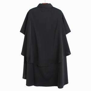 [EAM] Women Black Ruffles Back Long Big Size Blouse New Lapel Short Sleeve Loose Fit Shirt Fashion Tide Spring Summer 2020 1U193