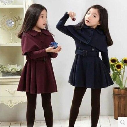 Осеннее платье для девочек подростков 3, 4, 5, 6, 7, 8, 9, 10, 11, 12 лет, Короткий плащ, однотонное Элегантное зимнее платье с длинными рукавами для девочек, 2019