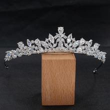 5A circonita cúbica completa CZ diadema nupcial corona para el cabello joyería accesorios fiesta de cumpleaños pieza principal HG0056