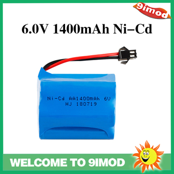 6V Volt Battery 2pcs 6V 1400mAh Ni-Cd AA Battery Pack Rechargeable For Remote Control Electric Car Toys SM-2P Plug Nicd