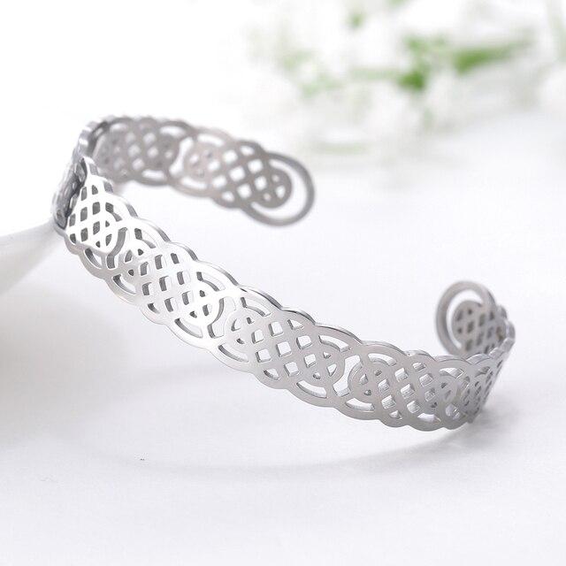 Bracelets manchette Viking Lemegeton noeud irlandais Bracelet noeud celtique hommes femmes amulette bijoux Talisman Bracelet acier inoxydable (Copie) 3