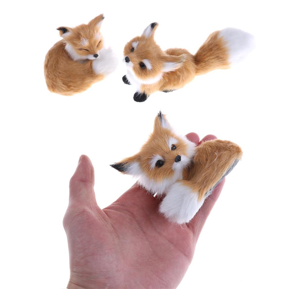1 adet küçük simülasyon tilki oyuncak dolması peluş oyuncaklar Mini çömelme tilki modeli ev dekorasyon düğün doğum günü hediyesi