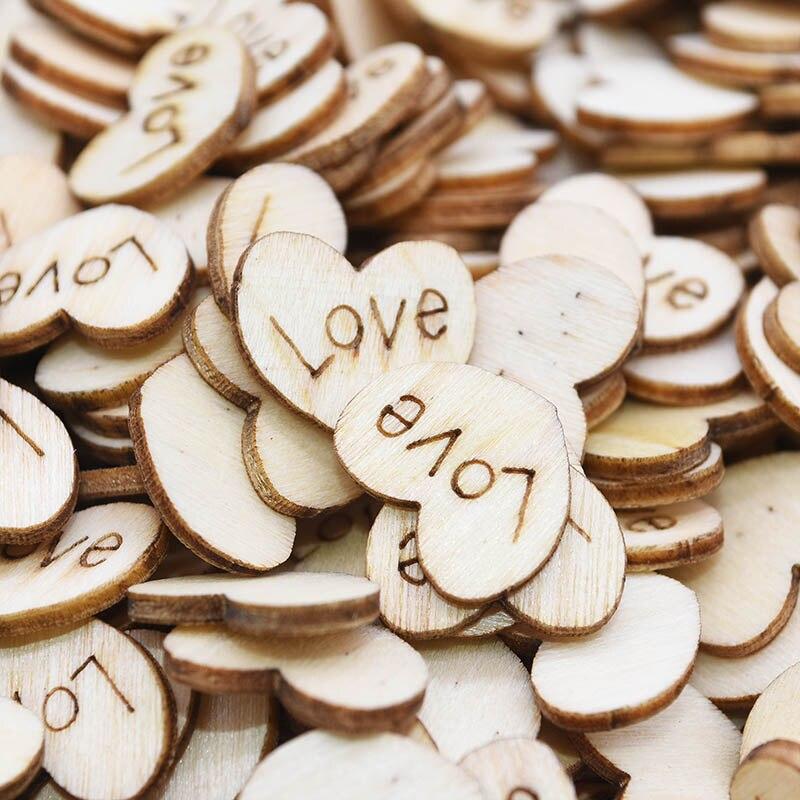 200pcs Natural Wood Heart Slice Disc Wedding Centerpiece Christmas DIY Decor