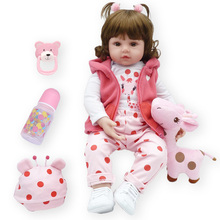 Hot Sale 48CM Reborn Baby Doll Toy Realistic Baby Doll With Giraffe Toddler Adorable dolls with pink dress Toy Birthday  Gifts