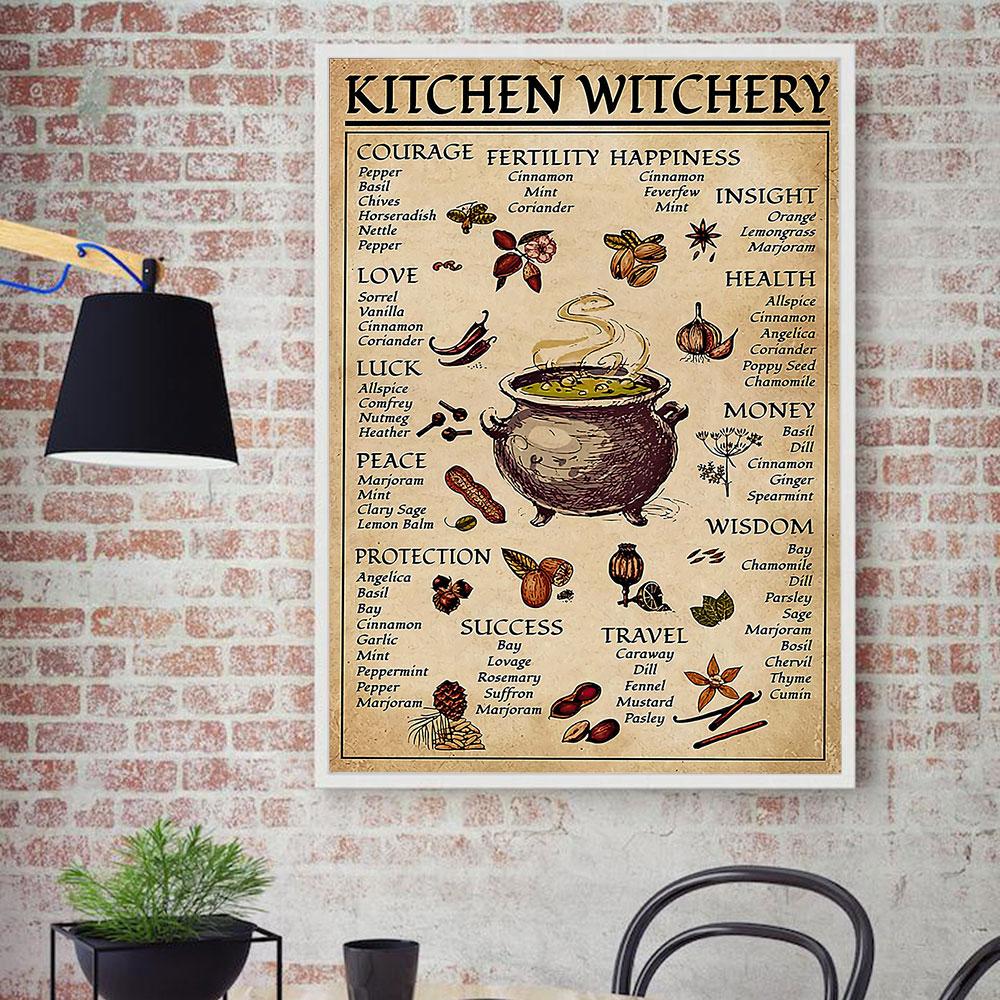 Mutfak cadı Vintage Poster Vintage tuval boyama Witche sihirli bilgi duvar sanat baskı resim oturma odası ev dekor için